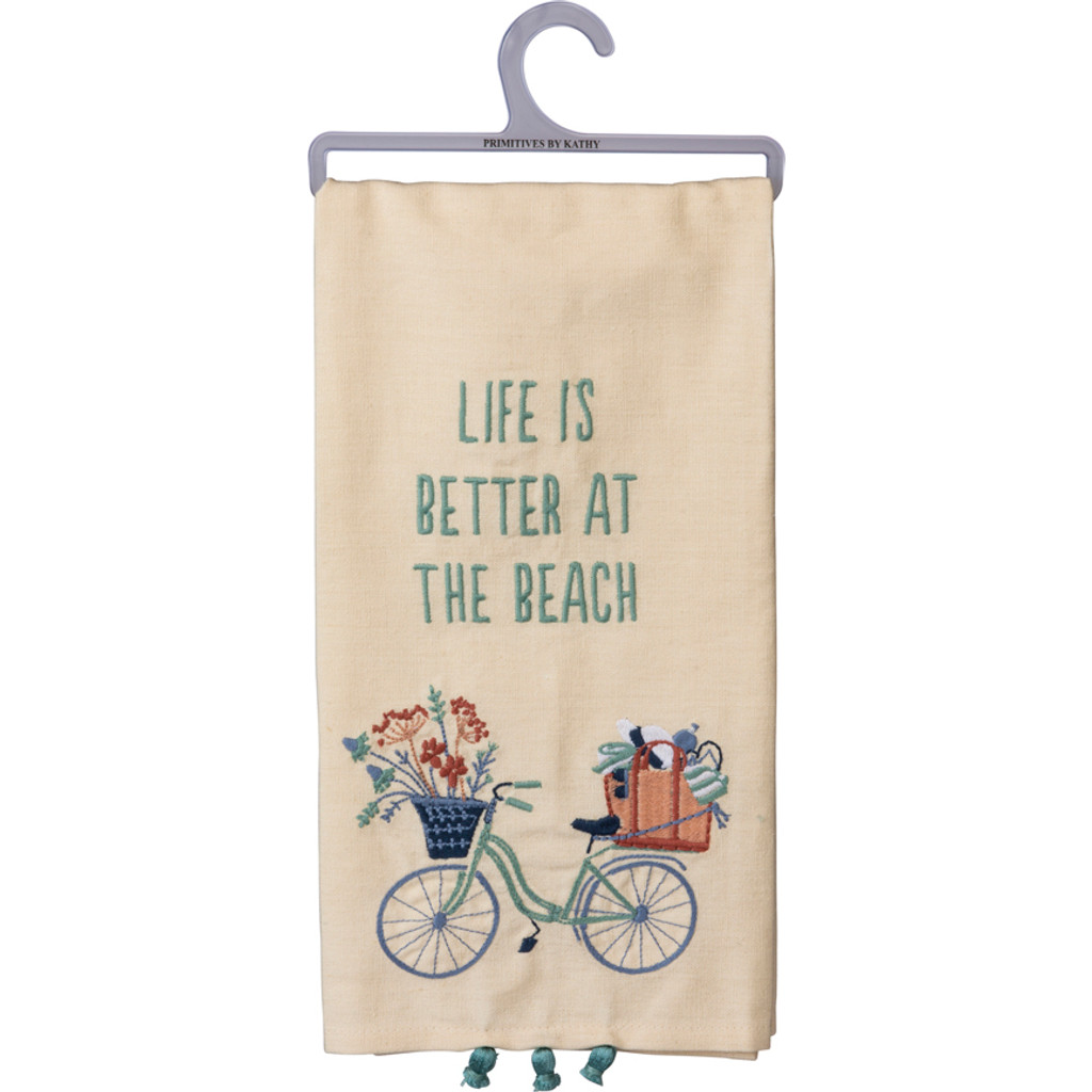 Life is Better at the Beach Bike Embroidered Towel