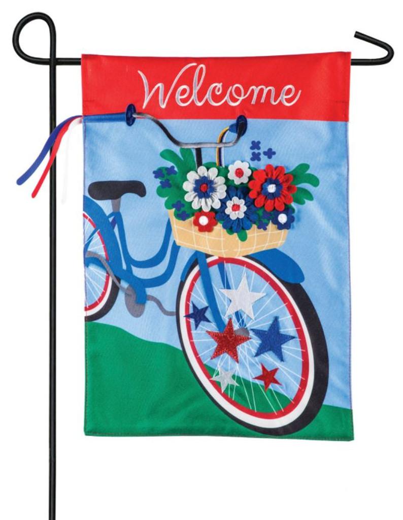 Spring Patriotic Bicycle Garden Flag