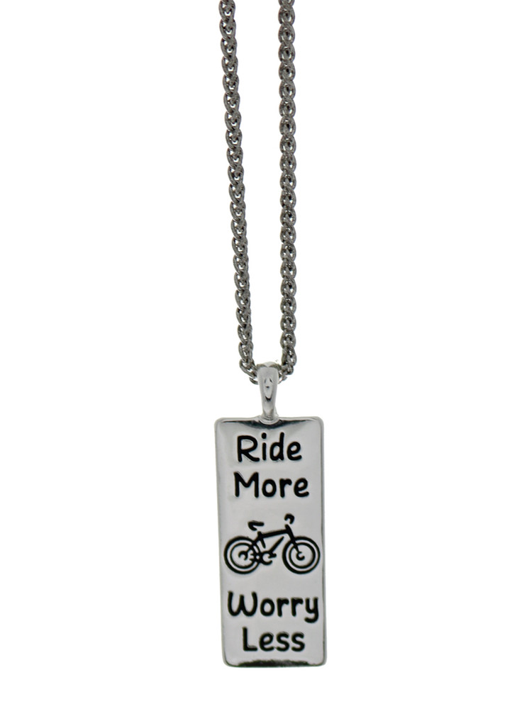 Ride More Worry Less Bicycle Necklace