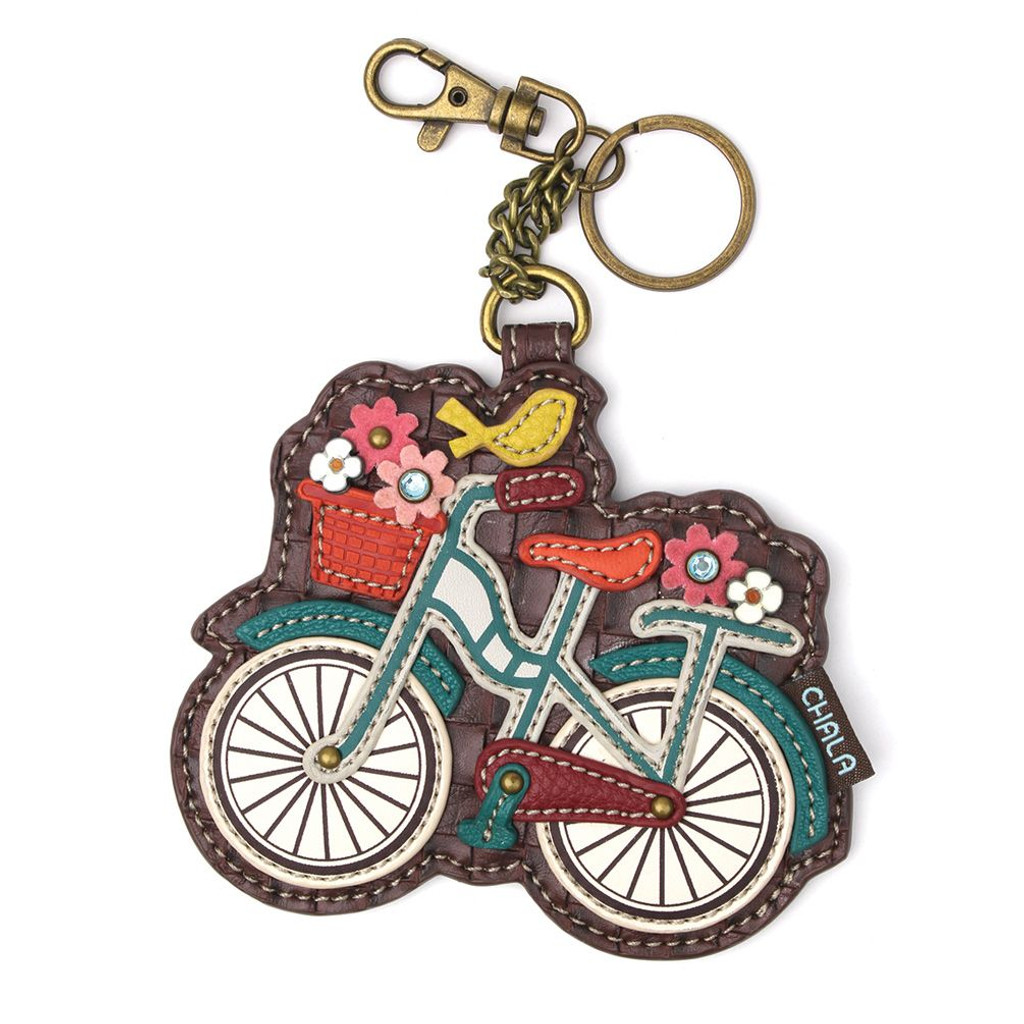Whimsical Bicycle Coin Purse Key Fob