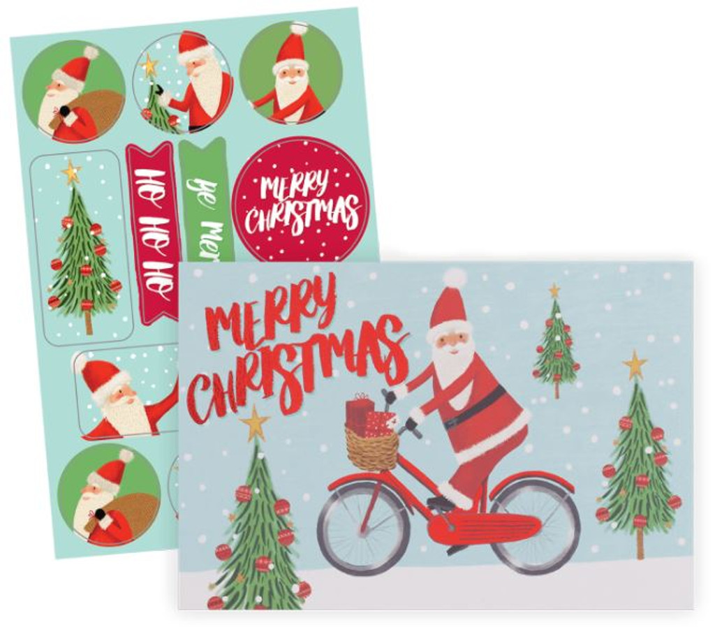 Santa on Bike Holiday Card Pack