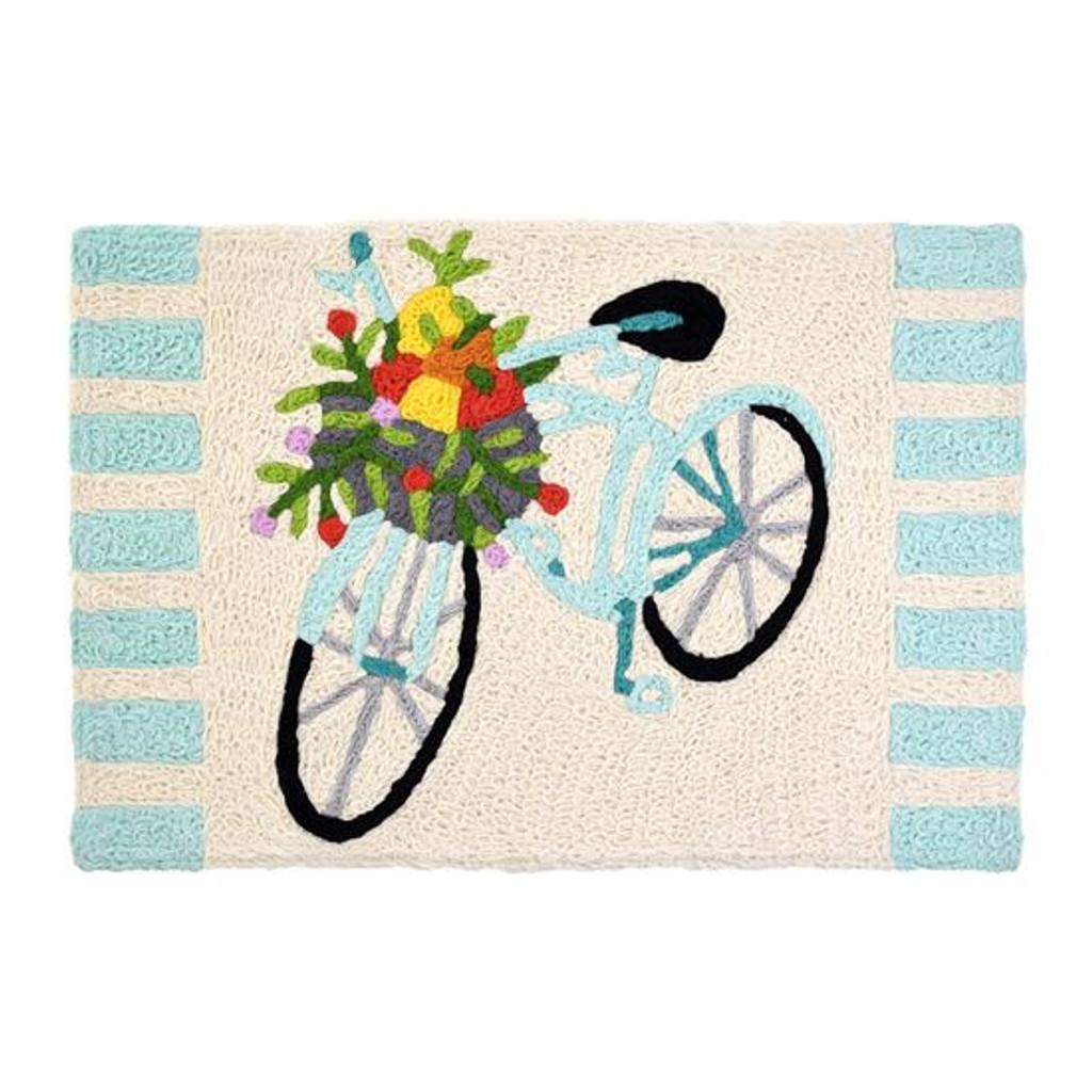 Bicycle Washable Indoor Outdoor Rug with Basket