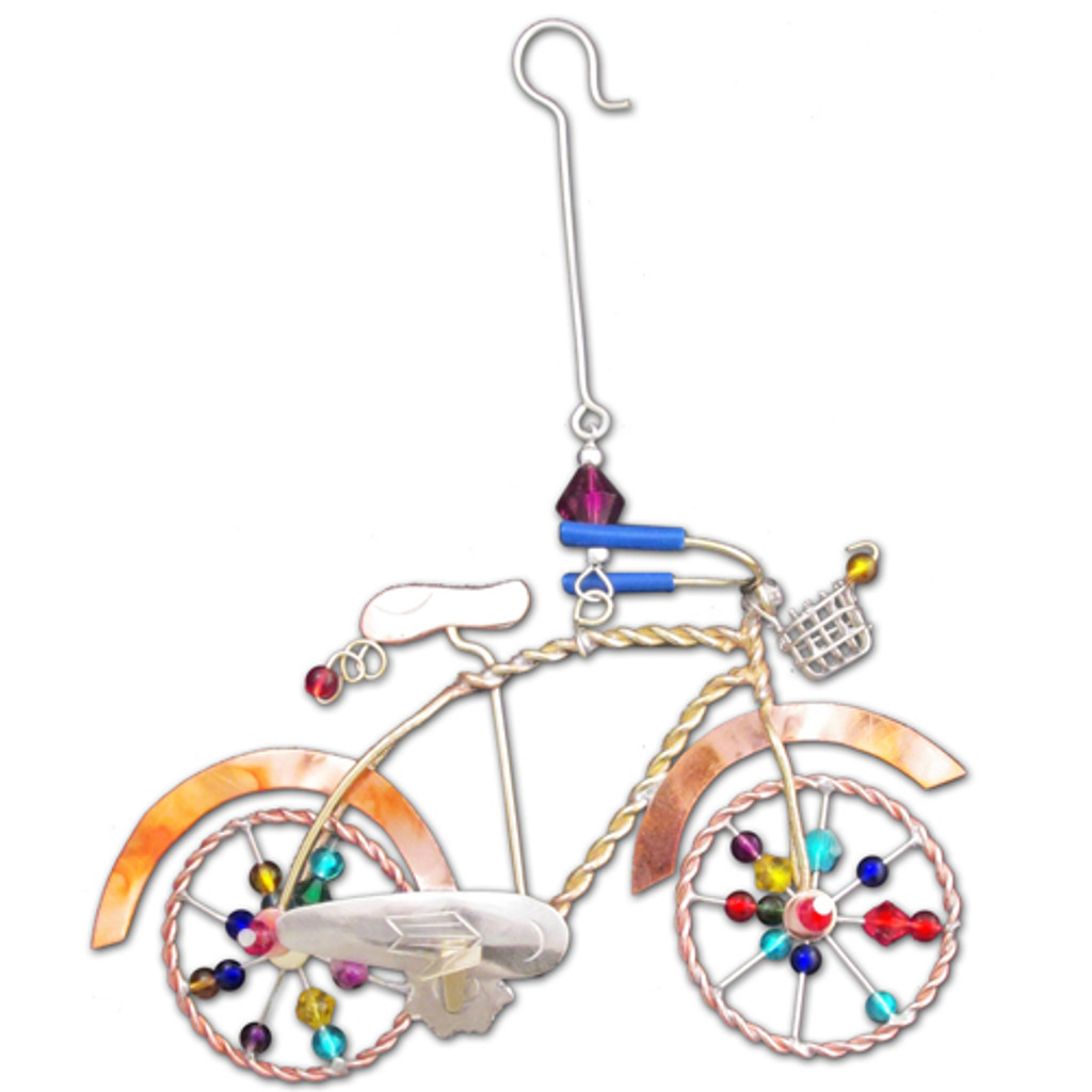 Beaded Polished Brass Bicycle Ornament