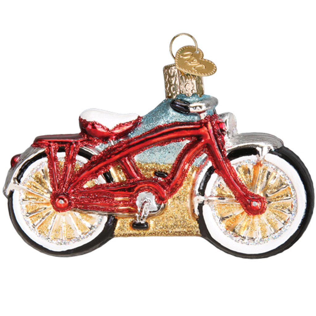 Cruiser Bicycle Glass Ornament