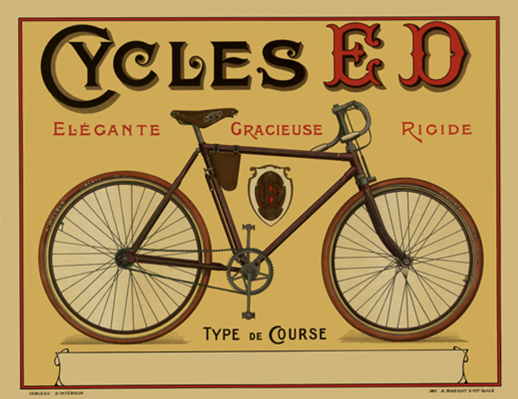 Cycles ED Vintage French Bicycle Poster Print