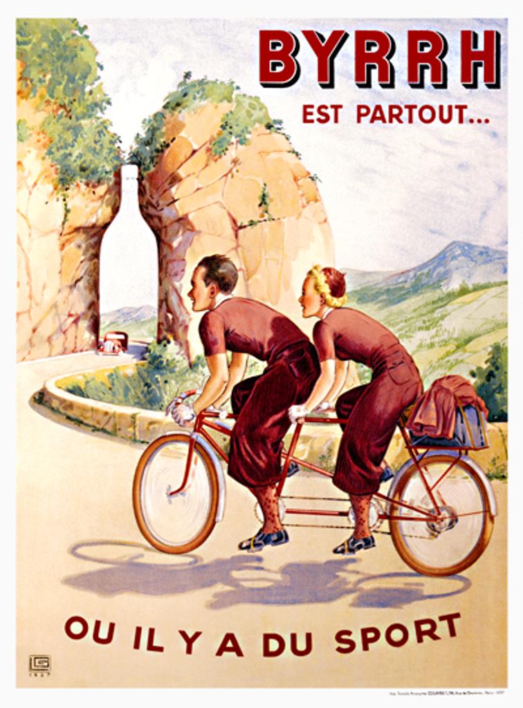 BYRRH Tandem Vintage French Bicycle Poster