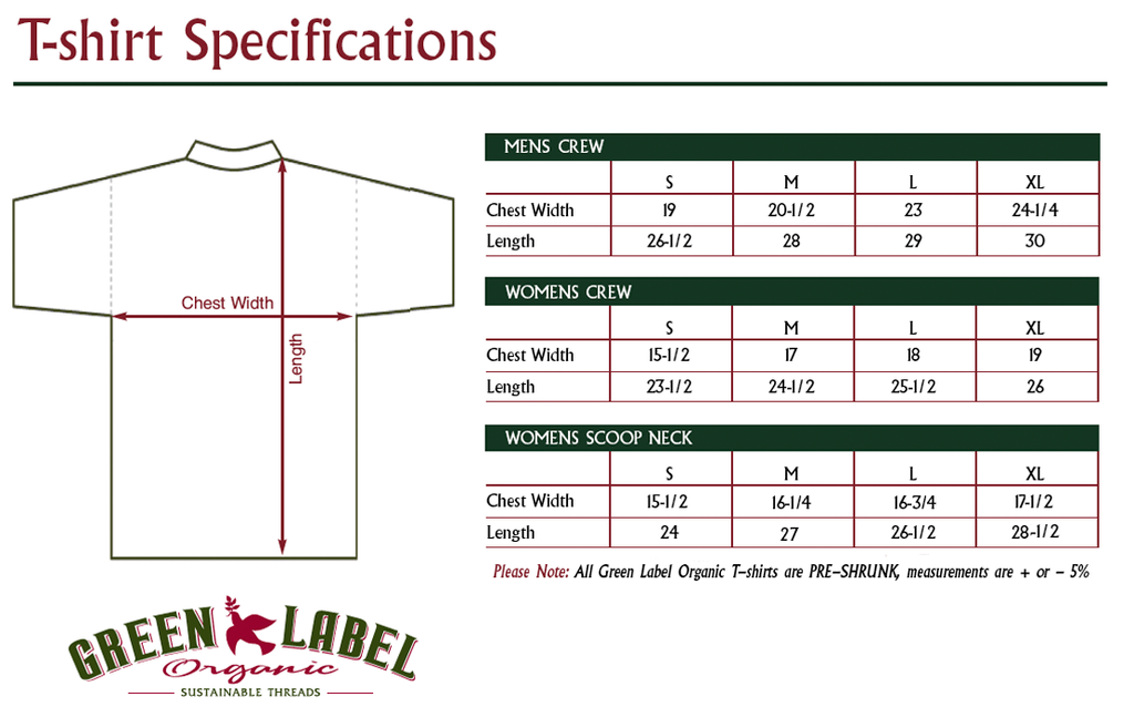 Green Label Size Chart