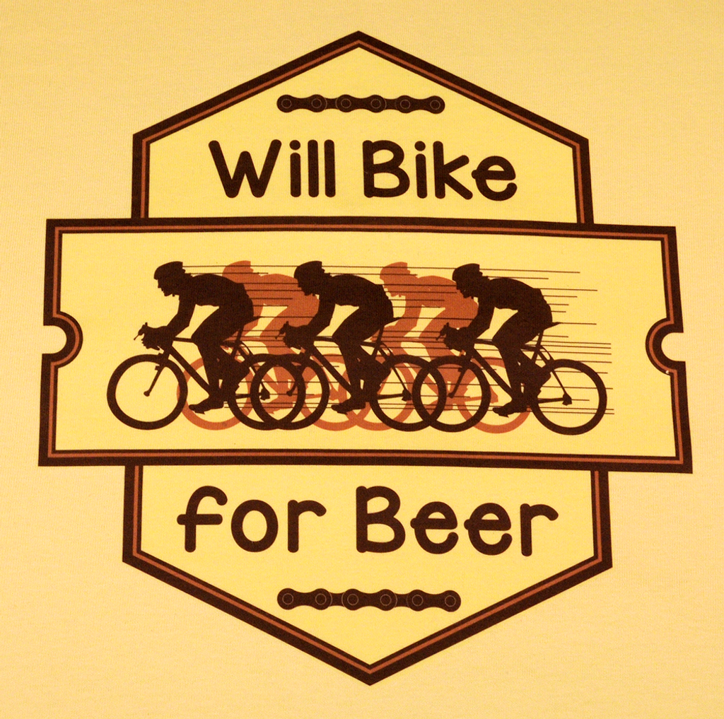 Will Bike for Beer - Yellow T Color