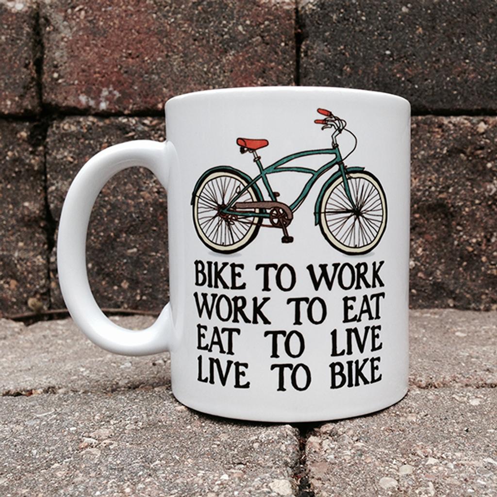 Bikers Creed BicycleGifts Coffee Mug - Left Side