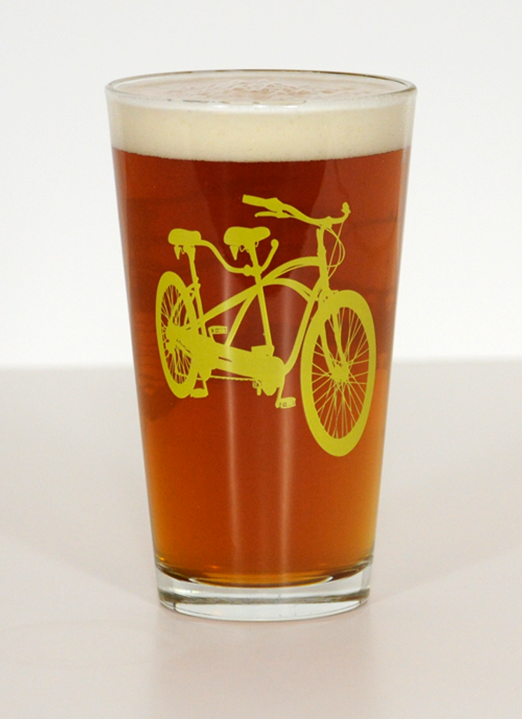 Tandem Bike Pint Beer Glasses