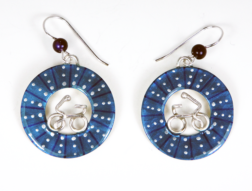 Bicycle Wheel Earrings - Blue