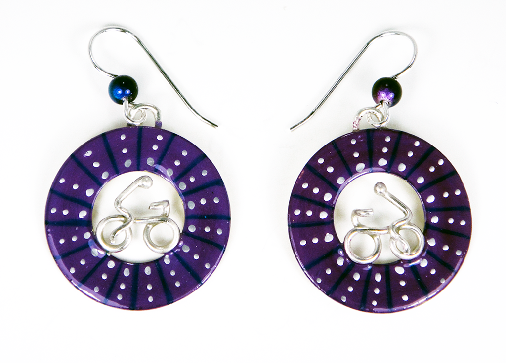 Bicycle Wheel Earrings - Purple
