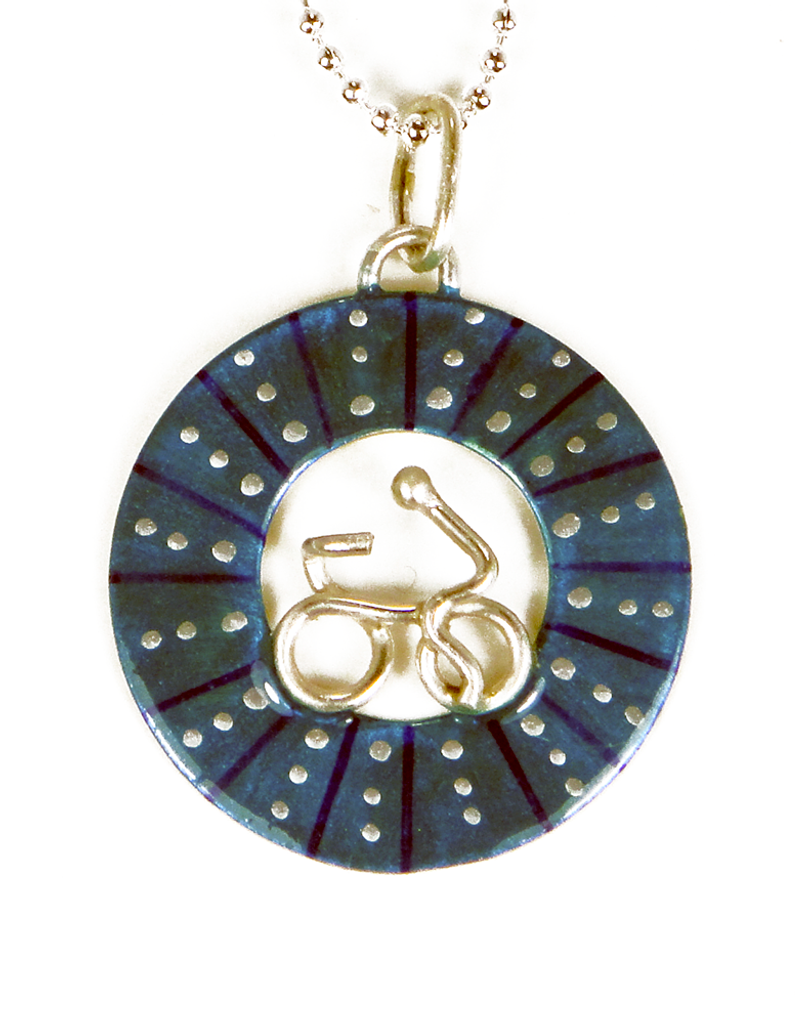 Bicycle Wheel Pendent - Blue