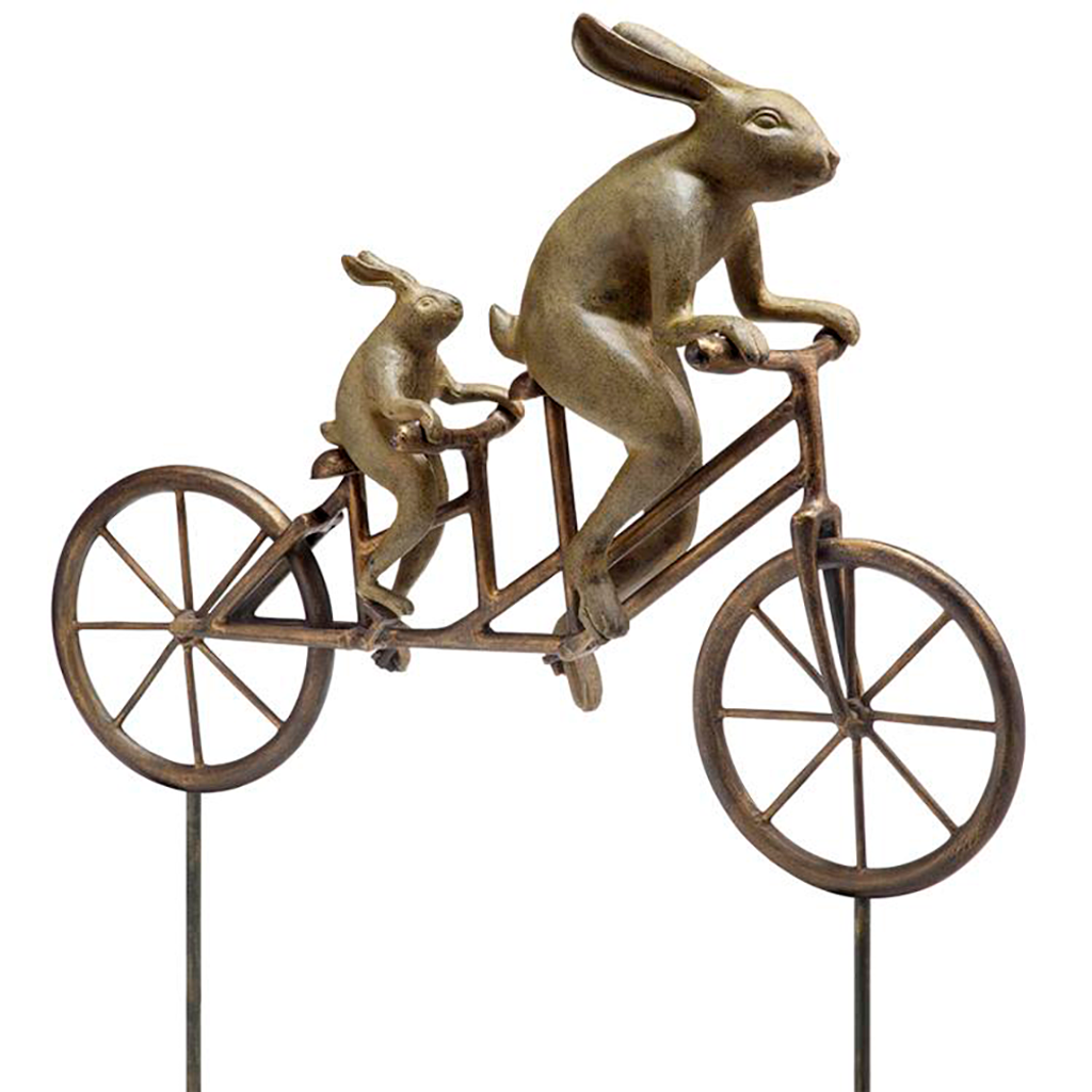 Tandem Bunnies Garden Sculpture
