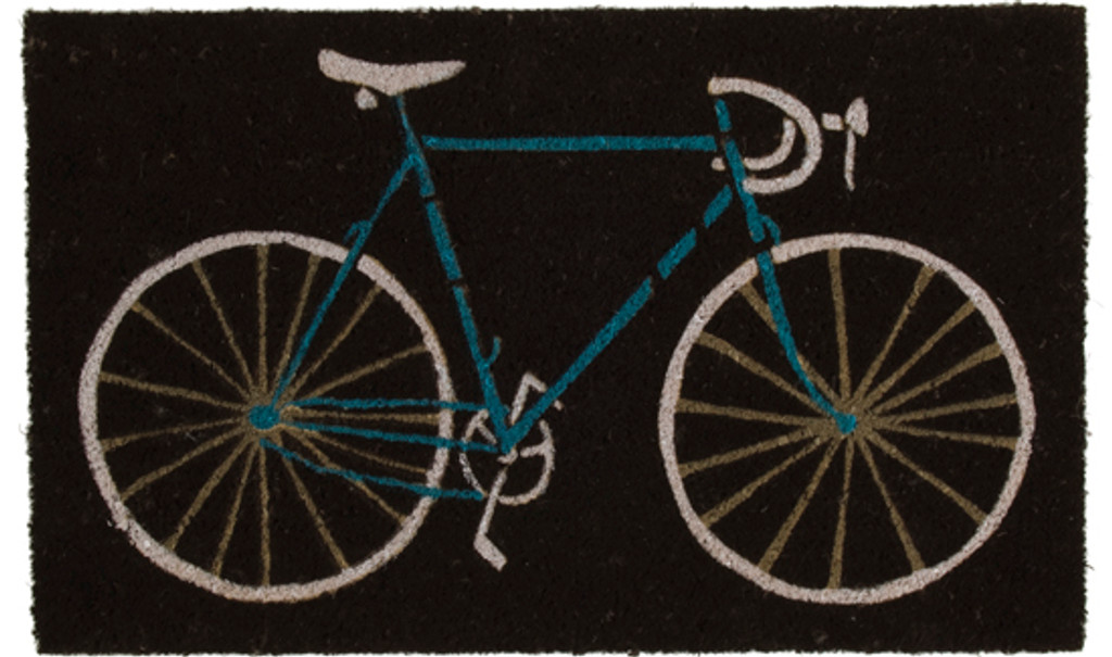 Road bicycle doormat with black background and teal bicycle