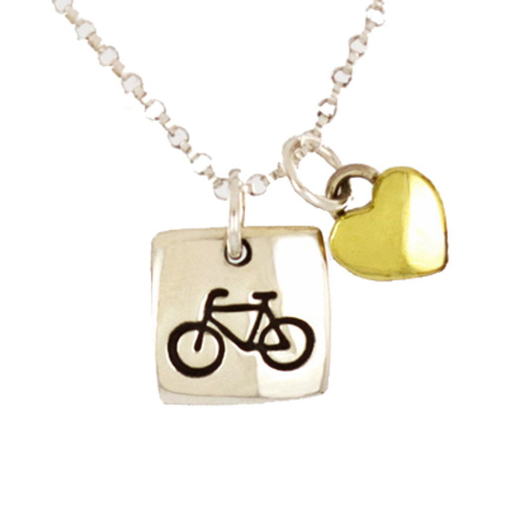 Sterling Bicycle Pendant with Heart