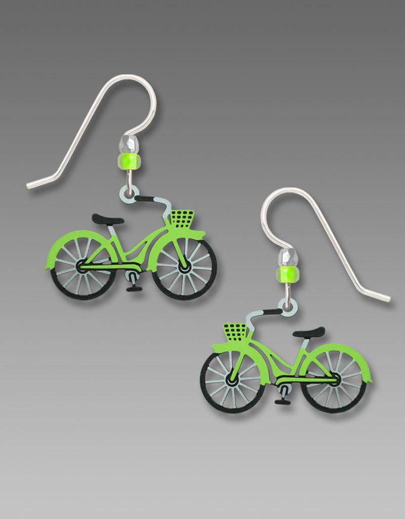 Lime Green Bicycle Earrings