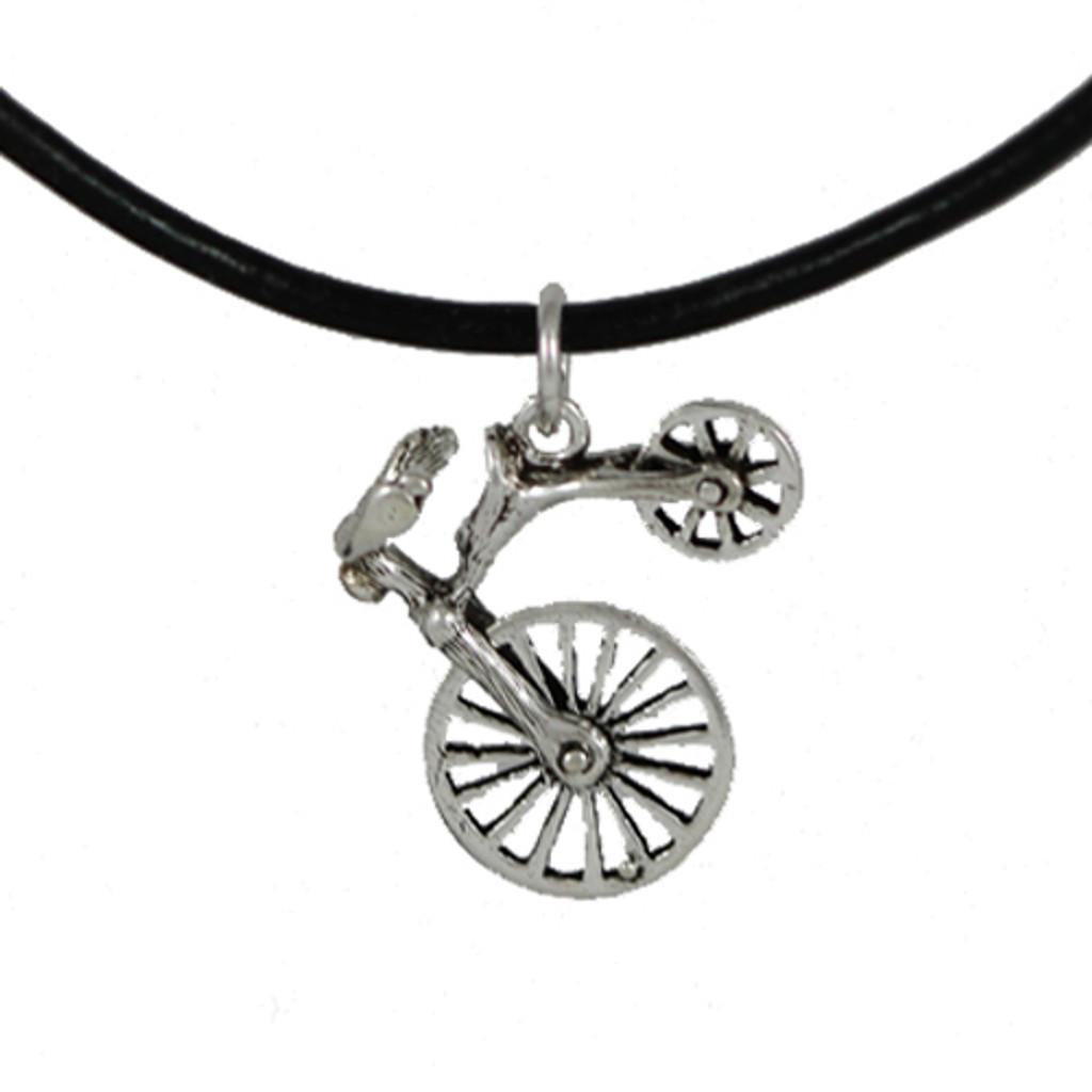 Sterling Bicycle High Wheel Pendant