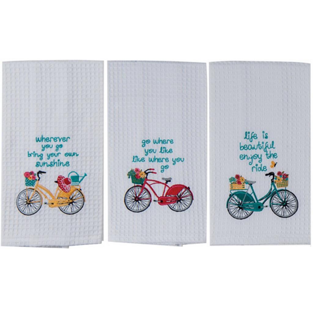Bright Bike Waffle Weave Towels
