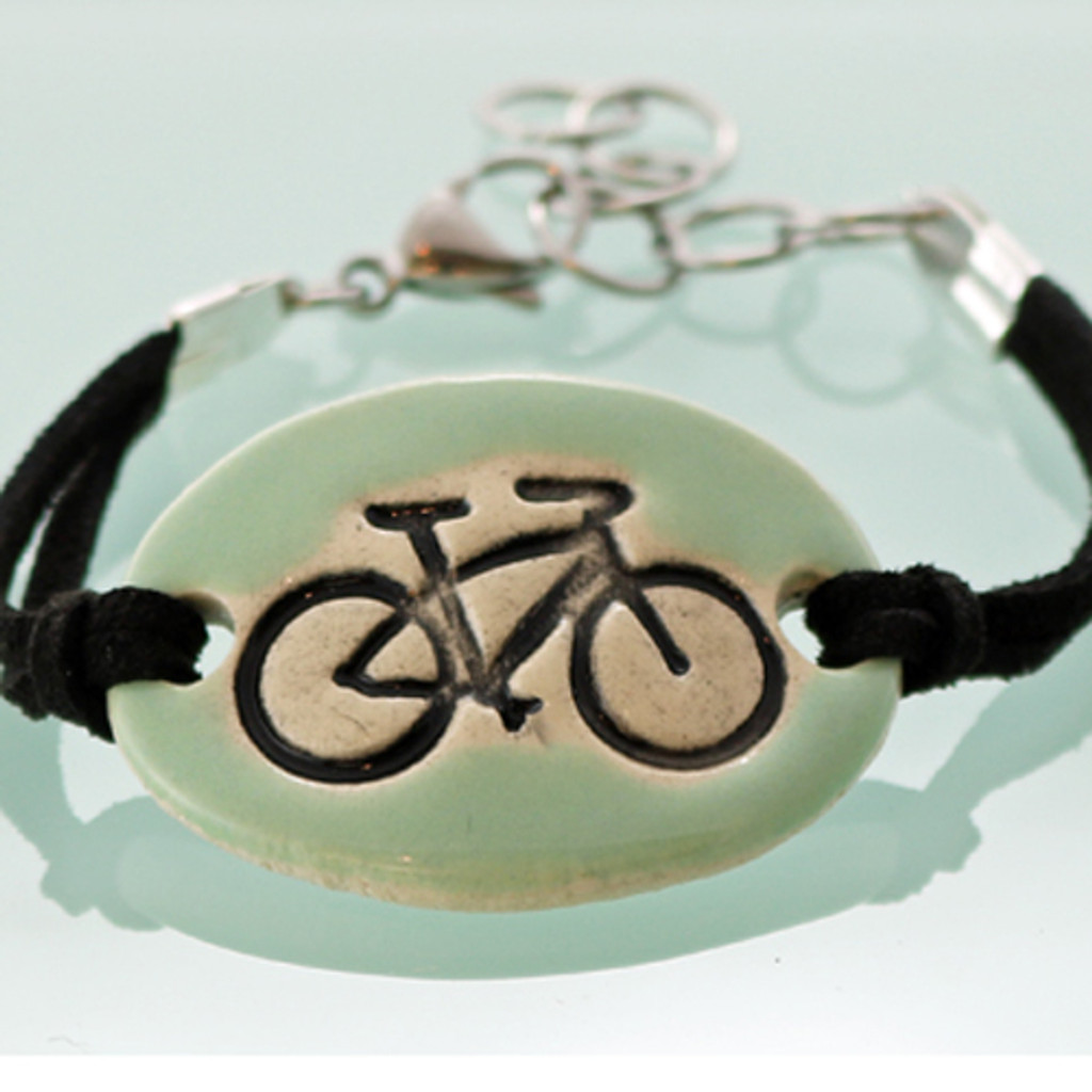 Seafoam Bicycle Clay Bracelet