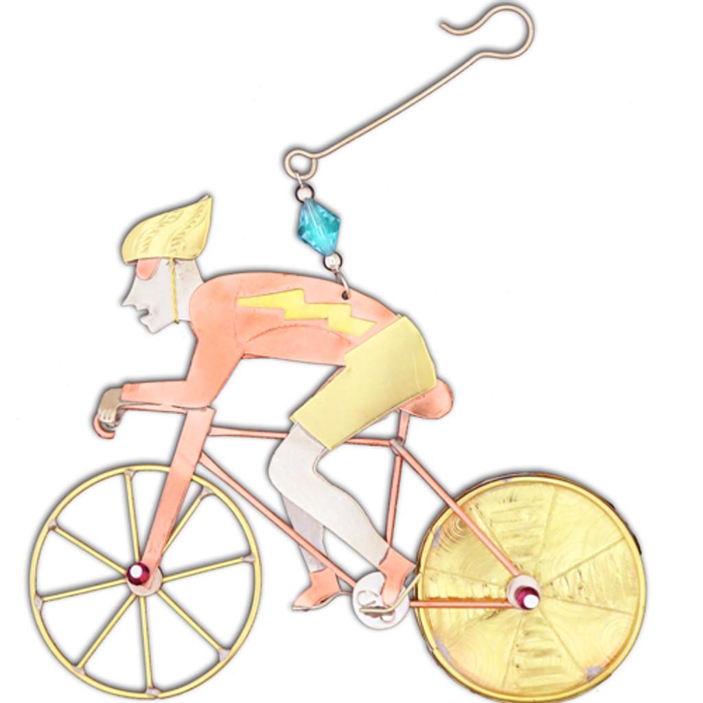 Mixed Metals Cyclist Ornament
