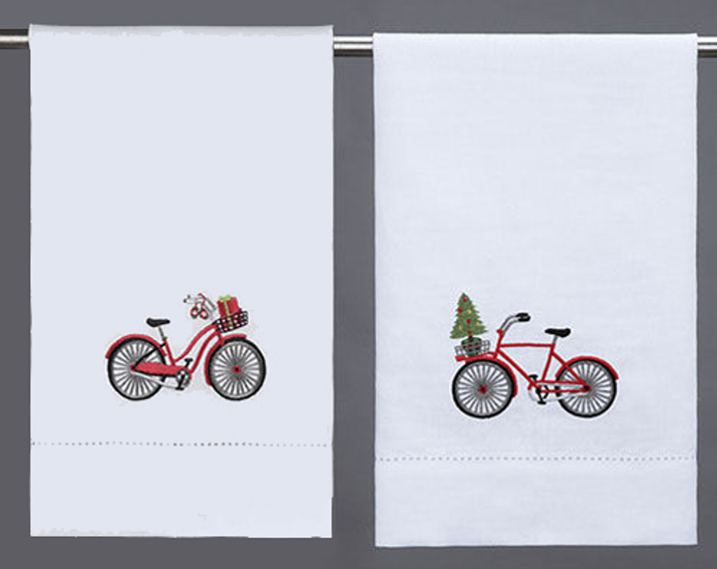 Holiday Bicycle Guest Towel