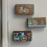 Stitched Block Bicycle Magnet 3 designs