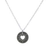 Heart in Cog Sterling Bike Necklace