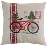 Natural Red Bike Holiday Square Pilllow