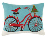 Red Bike Embroidered Holiday Pillow