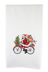 Santa Bicycle Delivery Flour Sack Kitchen Towel