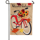 Autumn Bicycle Burlap Flag