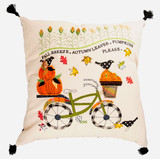 Fall Ride Applique Bicycle Pillow