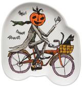Pumpkin Head Cyclist Shaped Plate