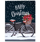 Poinsettia Bicycle Boxed Christmas Cards