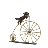 Dog on Vintage Bike Sculpture
