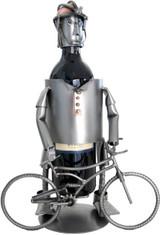 Male Mountain Biker Steel Wine Caddy