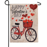 Valentine's Day Bicycle Burlap Flag