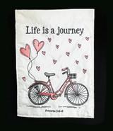 Valentine Bicycle Journey Garden Flag with verse