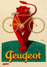 Peugeot Lion Vintage French Bicycle Poster Print by Favre