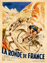 La Ronde de France Vintage French Bicycle Poster by Paul Ordner