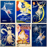 Ladies in Blue vintage poster set
