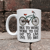 Bikers Creed BicycleGifts Coffee Mug - Left Side