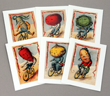 Vegetable Riders 1890's Victorian Image Note Cards