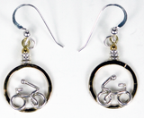 Single Rider Drop Earrings in Sterling Silver and Jewelers Brass by Lucy Golden