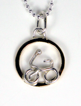 Single Rider Necklace in Sterling Silver and Jewelers Brass - Ball Chain