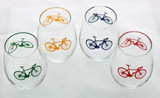 Road Bike White Wine Glass Set of Four Colors
