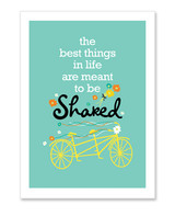 "Wedding card featuring tandem ""The best things in life are meant to be Shared"""