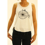 Creamy white tank top with bold, black vintage bicycle image.