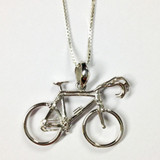 "Sterling silver bicycle pendant 1""L x 3/4""H"